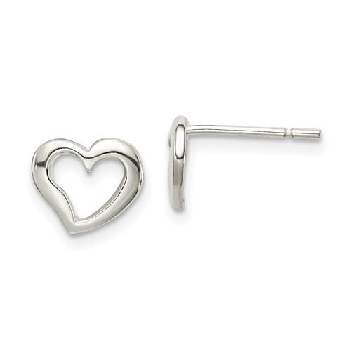 Sterling Silver Polished Open Heart Post Earrings