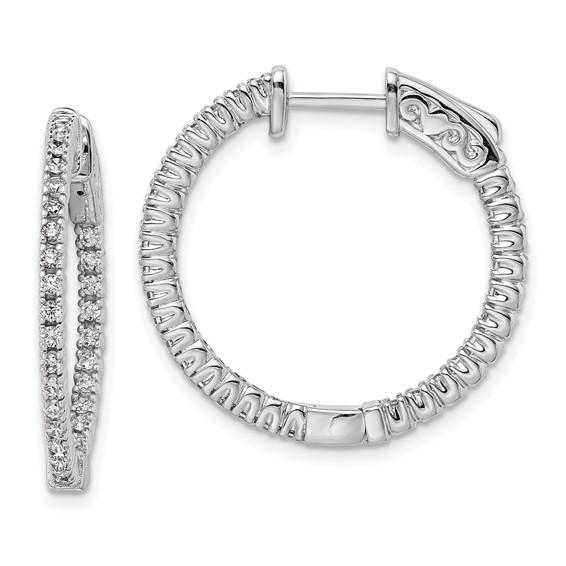 1in Sterling Silver CZ Round Hoop Earrings