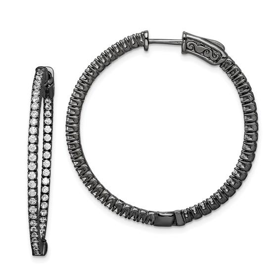 Sterling Silver Black Plated with CZ Hoop Earrings