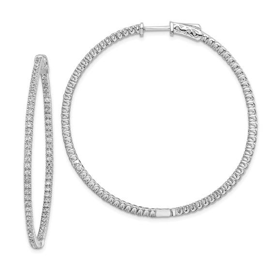 1 3/4in Sterling Silver CZ Round Hoop Earrings