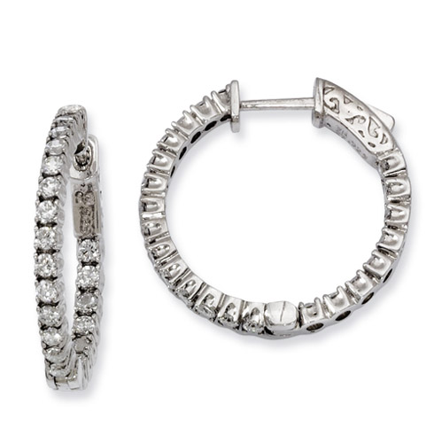 7/8in Sterling Silver CZ Round Hoop Earrings