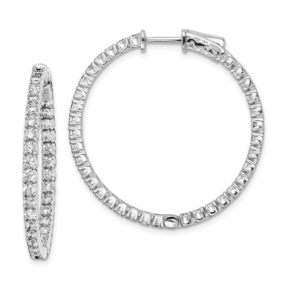 1 1/4in Sterling Silver CZ Round Hoop Earrings