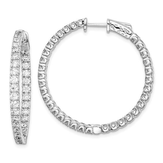 1 3/8in Sterling Silver CZ Round Hoop Earrings
