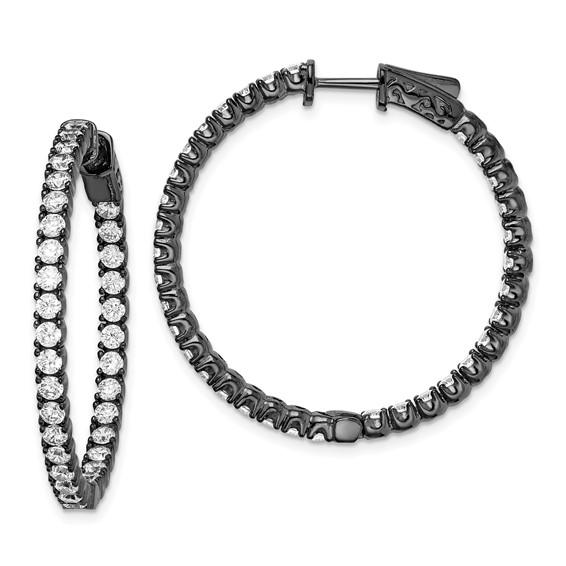 Sterling Silver Black Plated with 2.3mm CZ Hoop Earrings