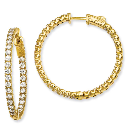 Sterling Silver Yellow Plated with 2.3mm CZ Hoop Earrings