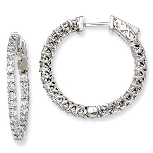 1in Sterling Silver CZ Round Hoop Earrings