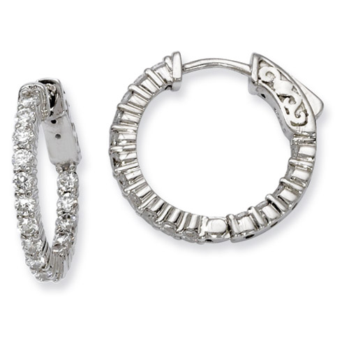 3/4in Sterling Silver CZ Round Hoop Earrings