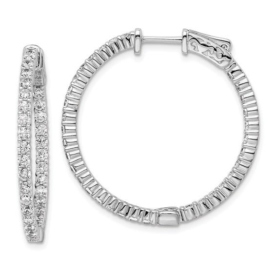 1 1/8in Sterling Silver CZ Round Hoop Earrings