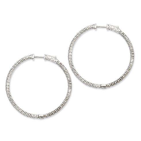 1 1/2in Sterling Silver CZ Round Hoop Earrings