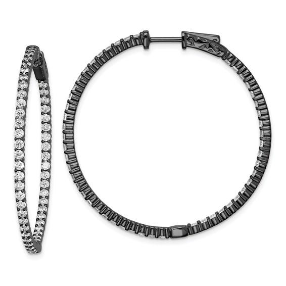 1 1/2in Sterling Silver Black Plated with CZ Hoop Earrings