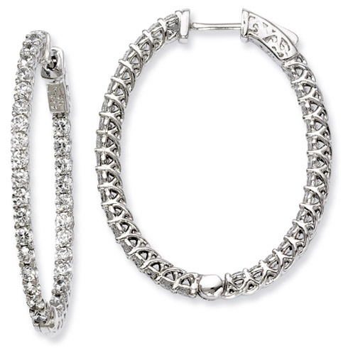 Sterling Silver 1 1/2in CZ In and Out Oval Hoop Earrings