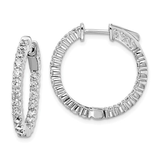 7/8in Sterling Silver CZ Round Hoop Earrings