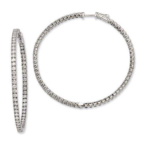 2in Sterling Silver CZ Round Hoop Earrings