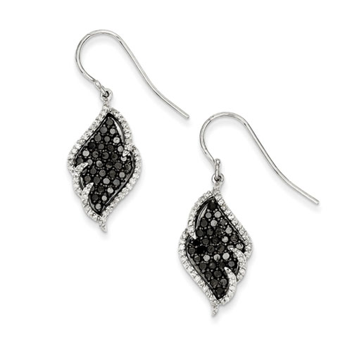 2 Ct Sterling Silver Black and White Diamond Earrings