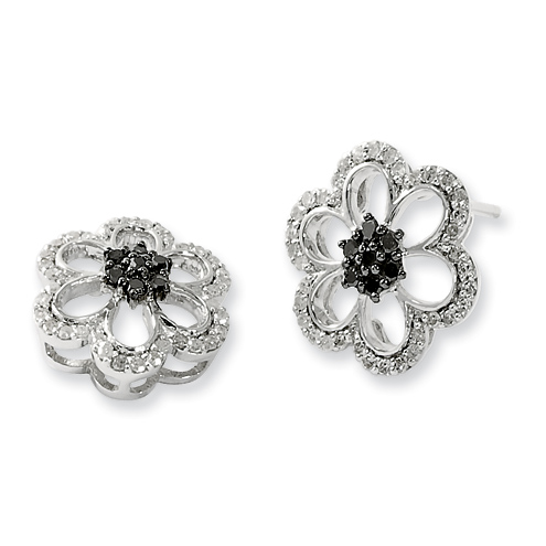 Sterling Silver 0.4 Ct Black and White Diamond Flower Earrings