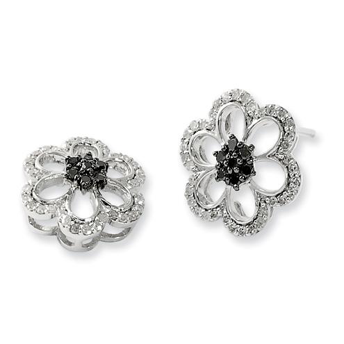 Sterling Silver 0.4 Ct Black and White Diamond Flower Earrings