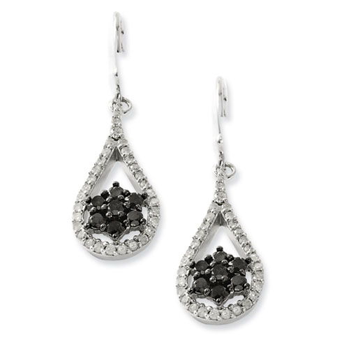 1 Ct Sterling Silver Tear Drop Black and White Diamond Earrings