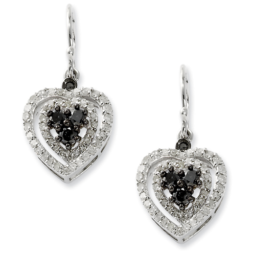 1 Ct Sterling Silver Black and White Diamond Heart Earrings