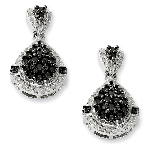 1 Ct Sterling Silver Black and White Diamond Earrings