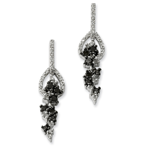 0.5 Ct Sterling Silver Black and White Diamond Earrings