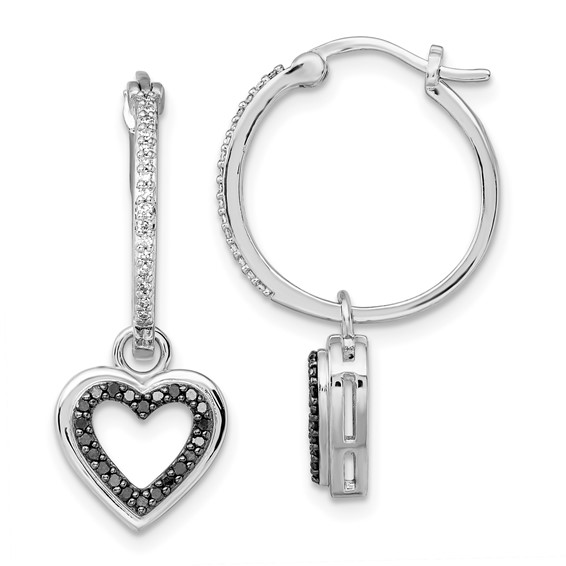 Sterling Silver 0.3 Ct Black and White Diamond Heart Earrings