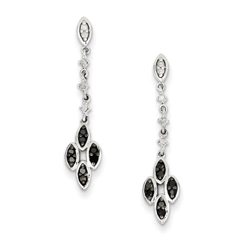0.25 Ct Sterling Silver Black and White Diamond Earrings
