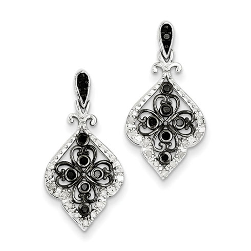 0.25 Ct Sterling Silver Black and White Diamond Fluer Earrings