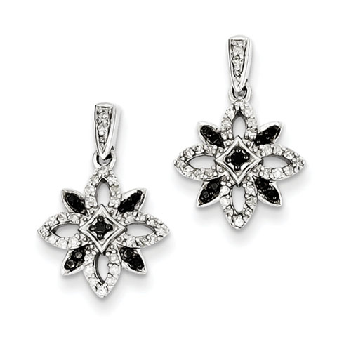 0.33 Ct Sterling Silver Black and White Diamond Earrings