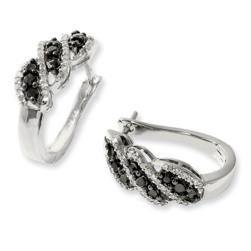 0.95 Ct Sterling Silver Black and White Diamond Earrings
