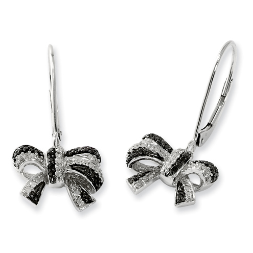 0.35 Ct Sterling Silver Black and White Diamond Dangle Bow Earrings