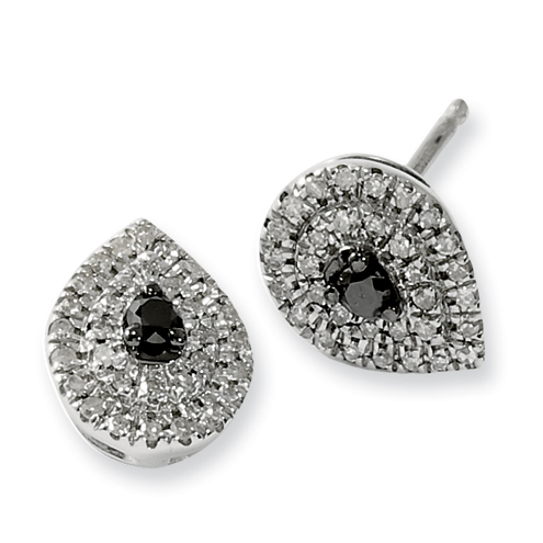 Sterling Silver 0.25 Ct Black and White Diamond Post Earrings