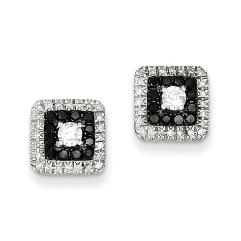 0.51 Ct Sterling Silver Black and White Diamond Square Post Earrings