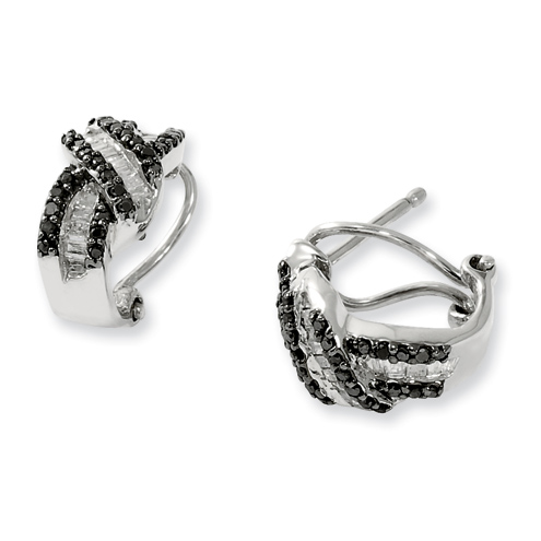 0.5 Ct Sterling Silver Omega Black and White Diamond Post Earrings