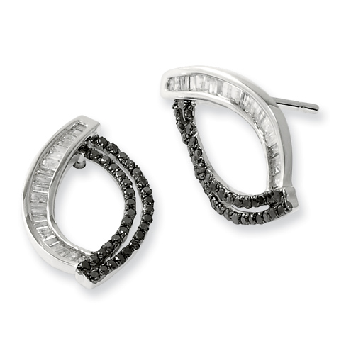 0.5 Ct Sterling Silver Black and White Diamond Post Earrings