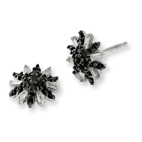 0.50 Ct Sterling Silver Black and White Diamond Post Earrings
