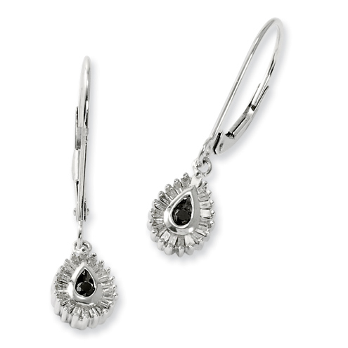 Sterling Silver 0.25 Ct Black and White Diamond Teardrop Earrings