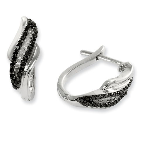 0.24 Ct Sterling Silver Black and White Diamond Post Earrings