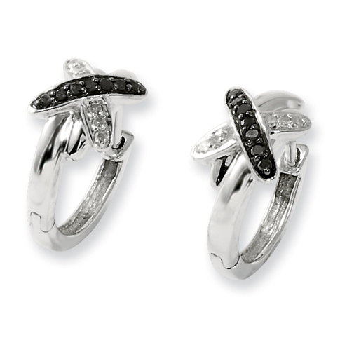 0.10 Ct Sterling Silver Black and White Diamond Post Earrings