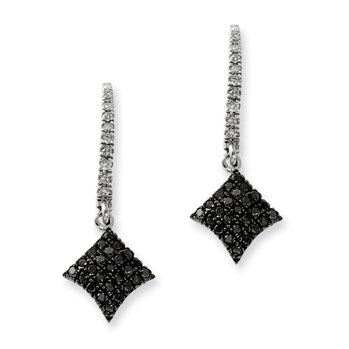 0.36 Ct Sterling Silver Black and White Diamond Post Dangle Earrings