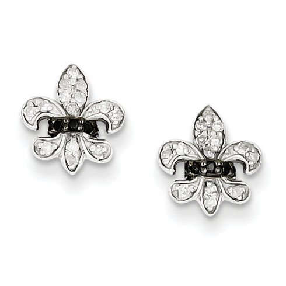 Sterling Silver 0.16 Ct Black and White Diamond Fleur de Lis Post Earrings