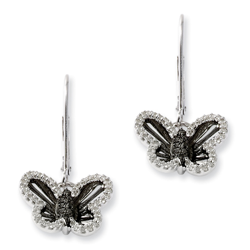 0.33 Ct Sterling Silver Black and White Diamond Butterfly Dangle Earrings