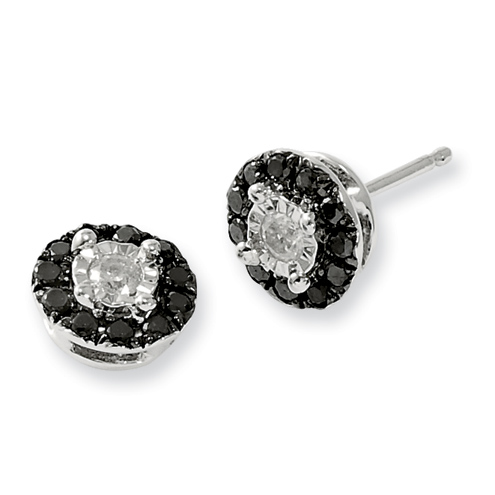 0.32 Ct Sterling Silver Black and White Diamond Circle Post Earrings