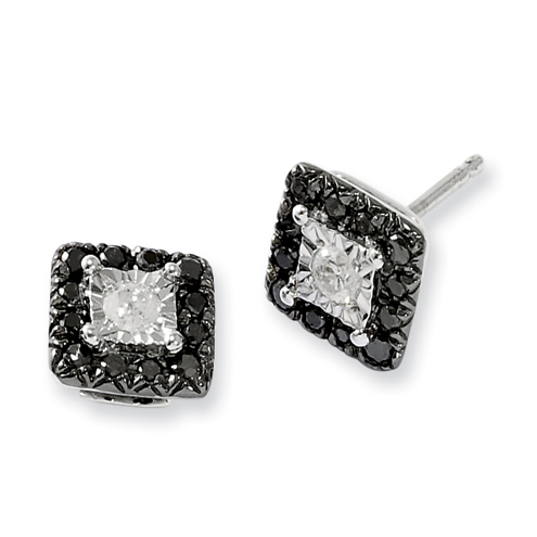 0.33 Ct Sterling Silver Black and White Diamond Square Post Earrings