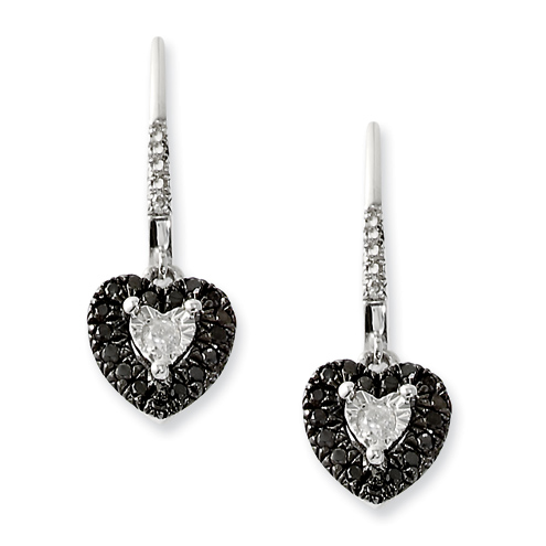 Sterling Silver 0.35 Ct Black and White Diamond Heart Dangle Earrings