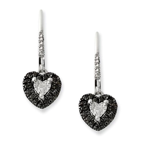 0.35 Ct Sterling Silver Black and White Diamond Heart Post Dangle Earrings