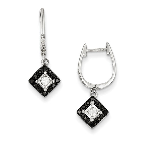 0.35 Ct Sterling Silver Black and White Diamond Square Post Dangle Earrings