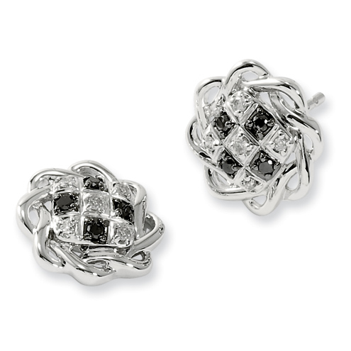 0.15 Ct Sterling Silver Black and White Diamond Post Earrings