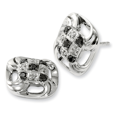 0.17 Ct Sterling Silver Black and White Diamond Square Earrings