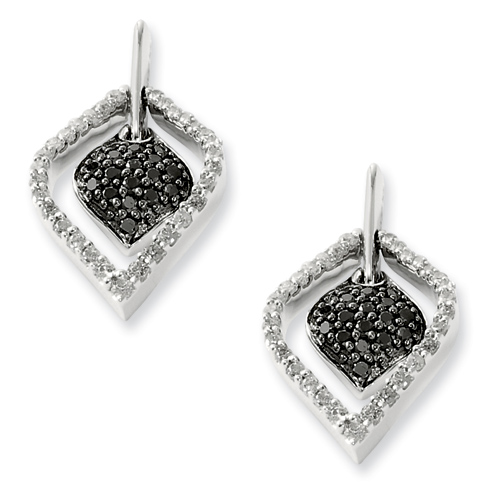 0.60 Ct Sterling Silver Black and White Diamond Post Earrings