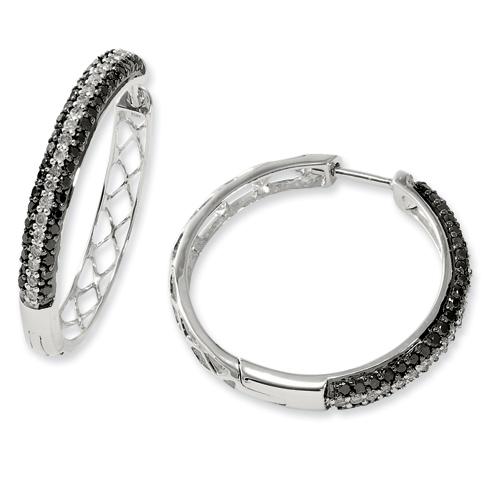 1 Ct Sterling Silver Black and White Diamond Hoop Earrings